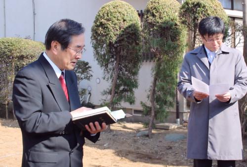 起工式での聖書朗読